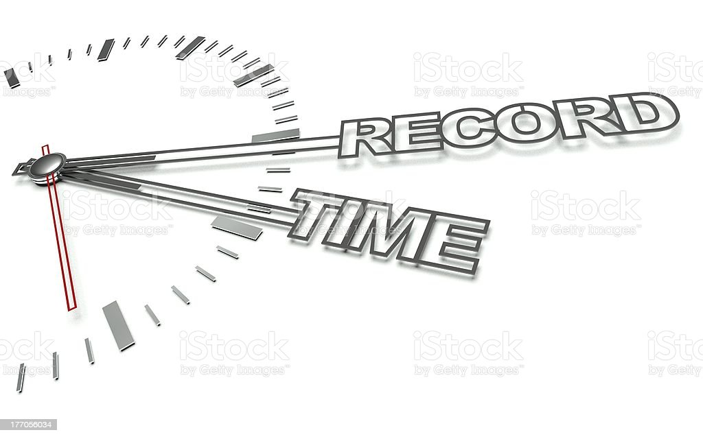 Clock with words Record time, concept of success royalty-free stock photo