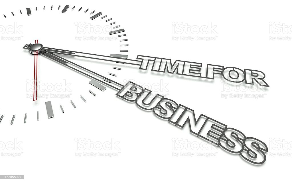 Clock with words Time for business, concept of development royalty-free stock photo