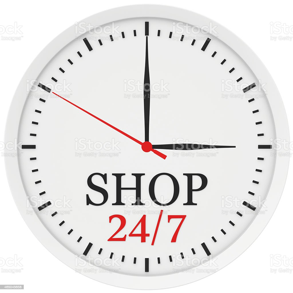 clock without numbers marked shop is open 24 hours a stock photo