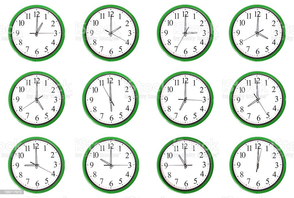 Clocks - 12 different hours stock photo