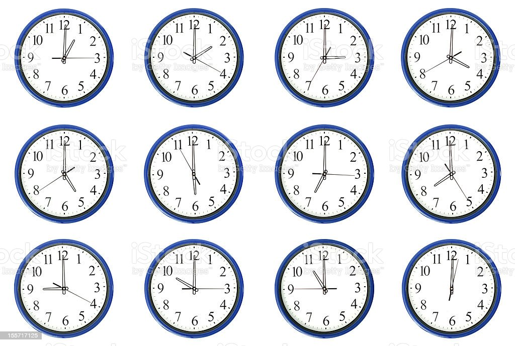 Clocks - Day and night hours stock photo