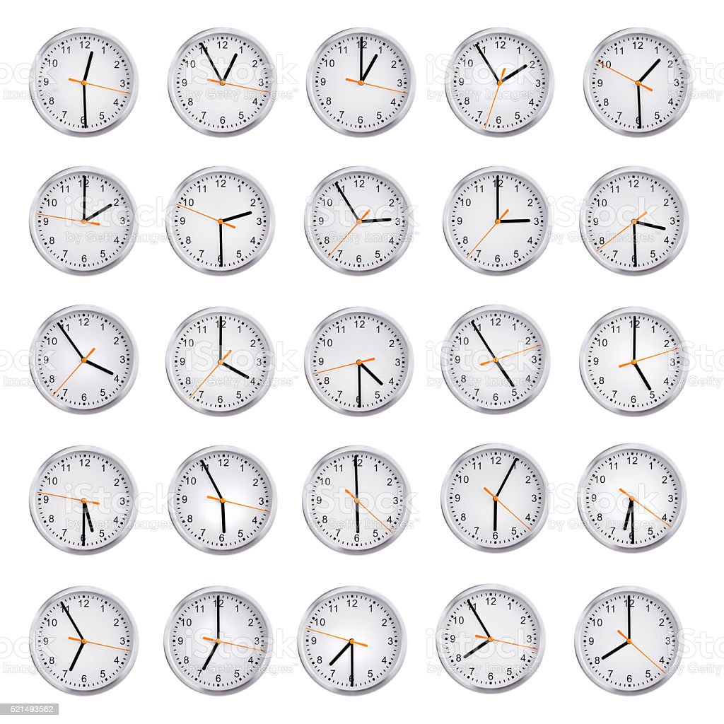 Clocks shows the time from an hour to eight stock photo