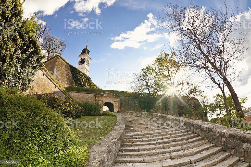 Clock-tower ,fortress of Petrovaradin stock photo