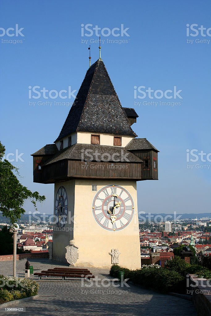 Clock-Tower Graz royalty-free stock photo