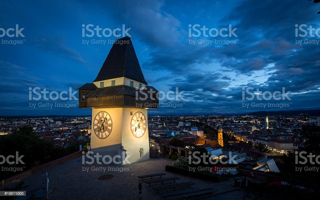 clocktower graz stock photo