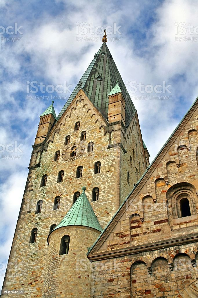 clocktower of the cathedral in paderborn, germany stock photo