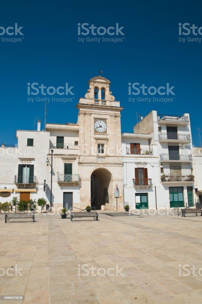 Clocktower. Sammichele di Bari. Puglia. Italy. stock photo