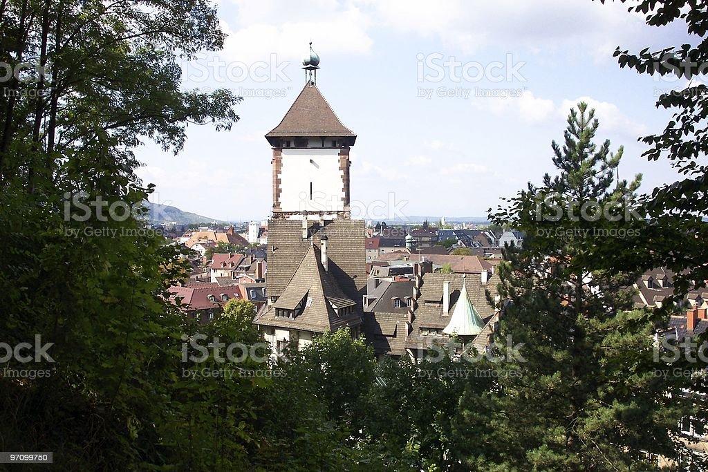 Clocktower through trees royalty-free stock photo