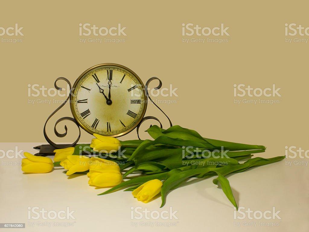 clock&tulips stock photo
