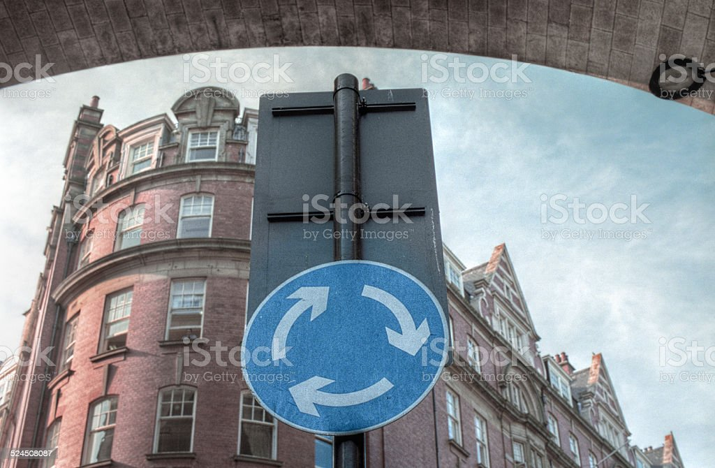 Clockwise roundabout sign - Rotatoria stock photo