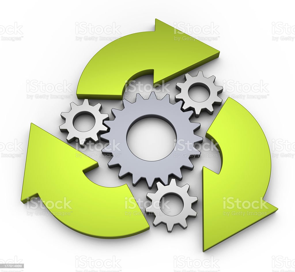 Clockwork diagram showcasing an infinite cycle stock photo