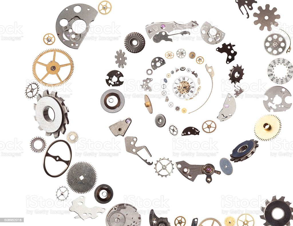 Clockwork Gears And Parts Flying Falling Into Spiral Center stock photo