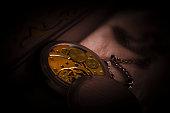 Clockwork Mechanism of Old Pocket Watch
