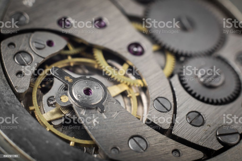 Clockwork old mechanical pocket watch stock photo