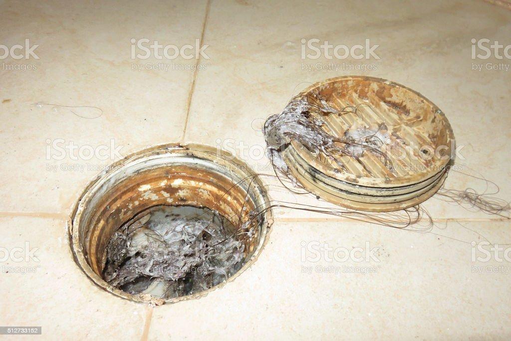 Clogged drain stock photo