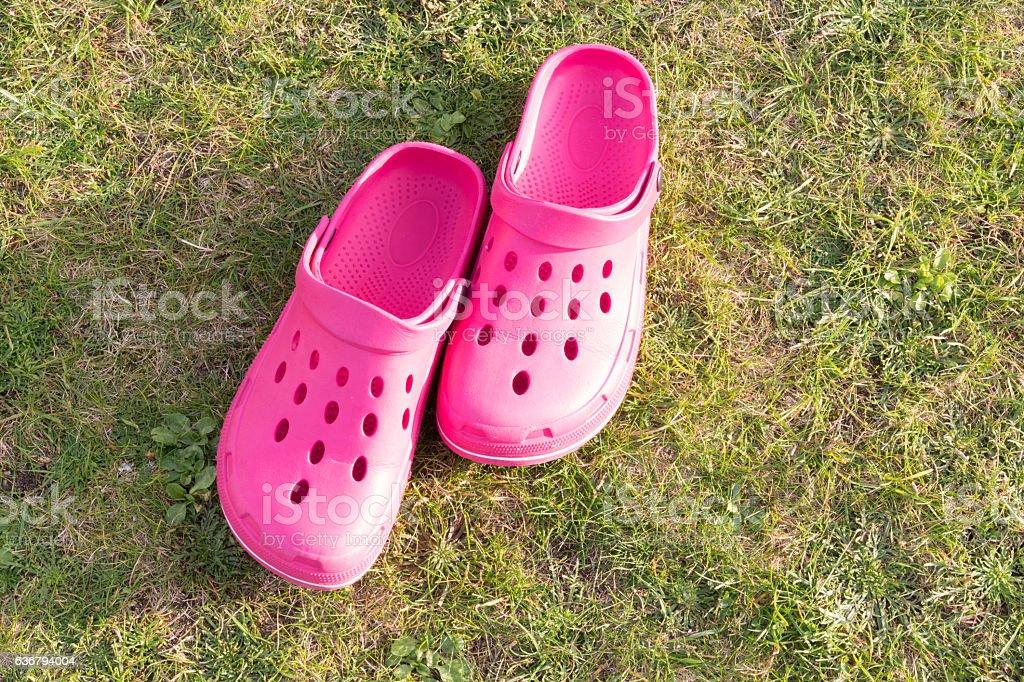 Clogs Schuhe im Garten stock photo