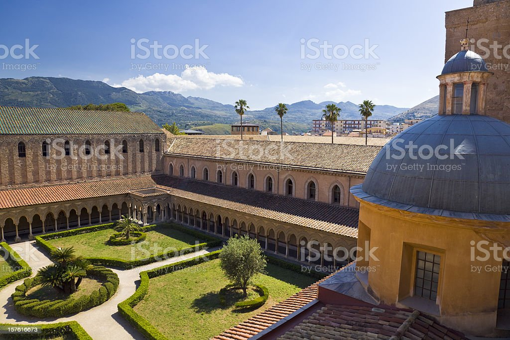 Cloiser of abbey in Monreale (Sicily, Italy) stock photo