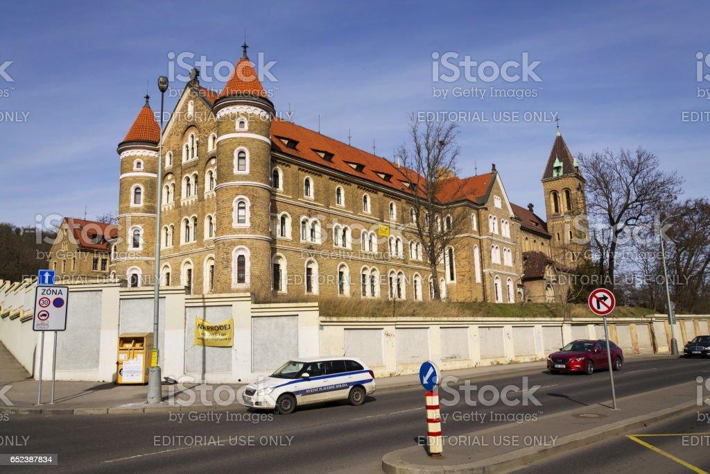 Cloister and Annunciation Church of Saint Gabriel, Prague, Czech republic stock photo