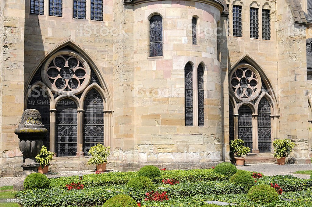 cloister and garden of Cathedral Trier stock photo