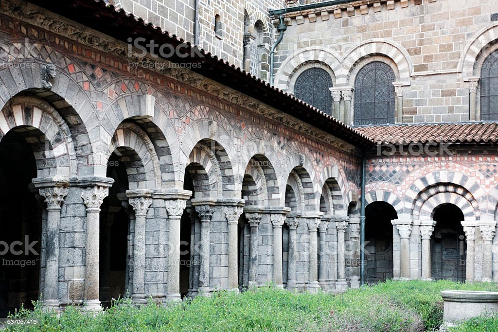 Cloister in Le Puy-en-Velay - France stock photo
