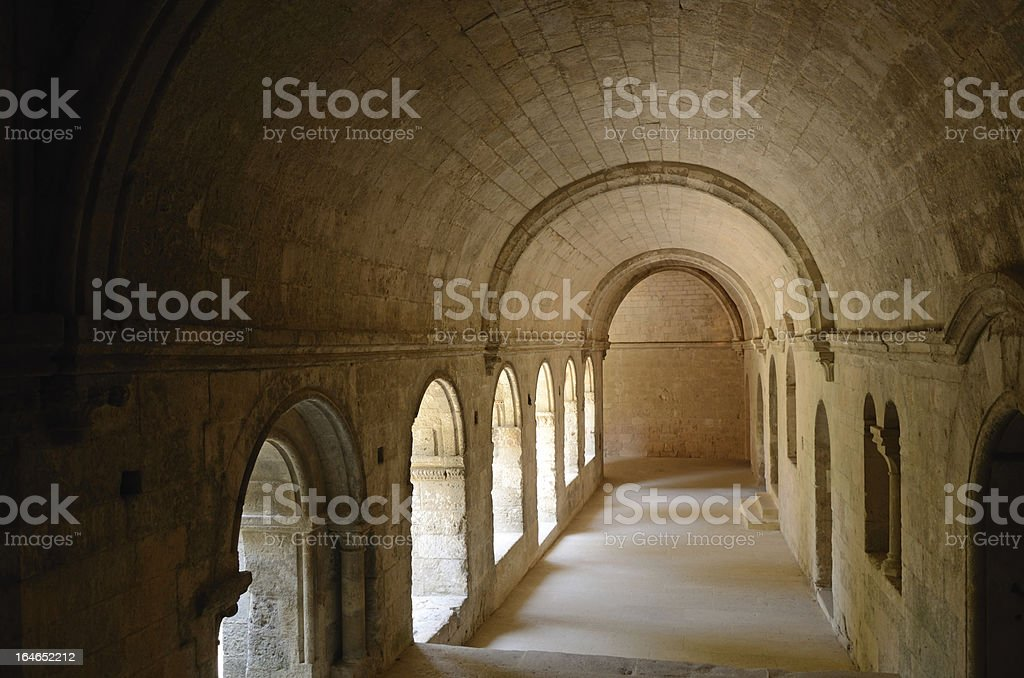 Cloister in Silvacane Abbey stock photo