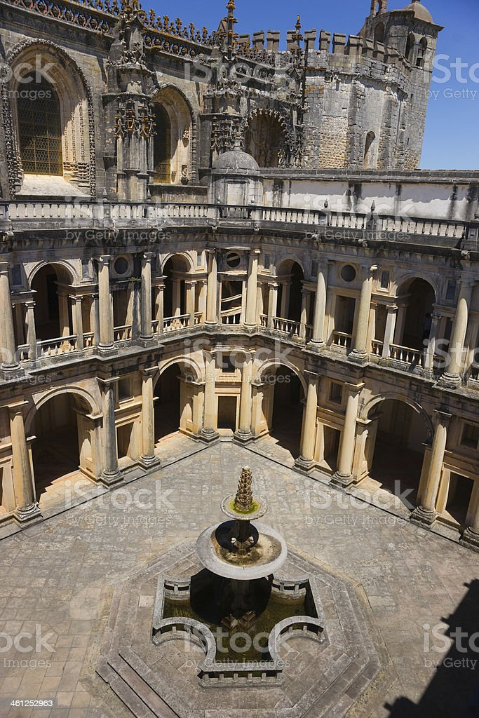 Cloister John III Convent of Christ in Tomar, Portugal stock photo