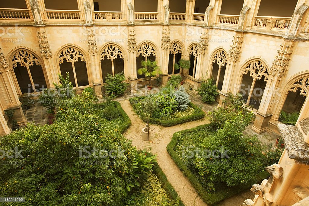 cloister of a monastery stock photo