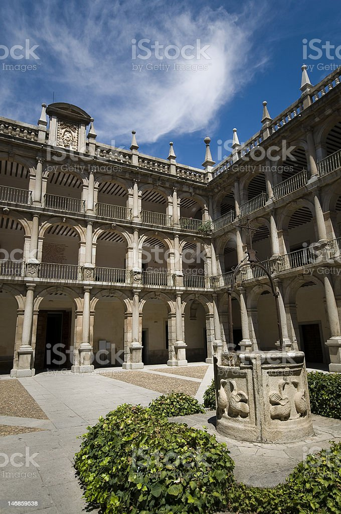 Cloister of Alcala de Henares University. Madrid, Spain royalty-free stock photo