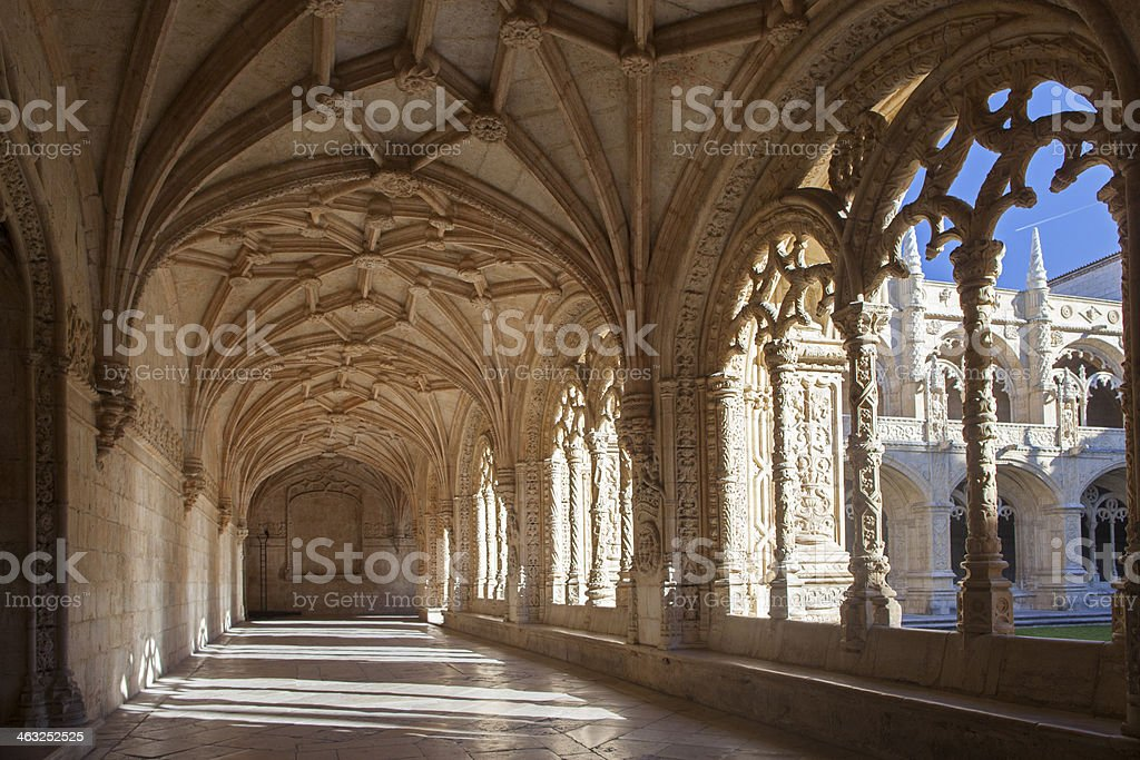 Cloister of Jeronimos Monastery, Belem, Lisbon, Portugal stock photo