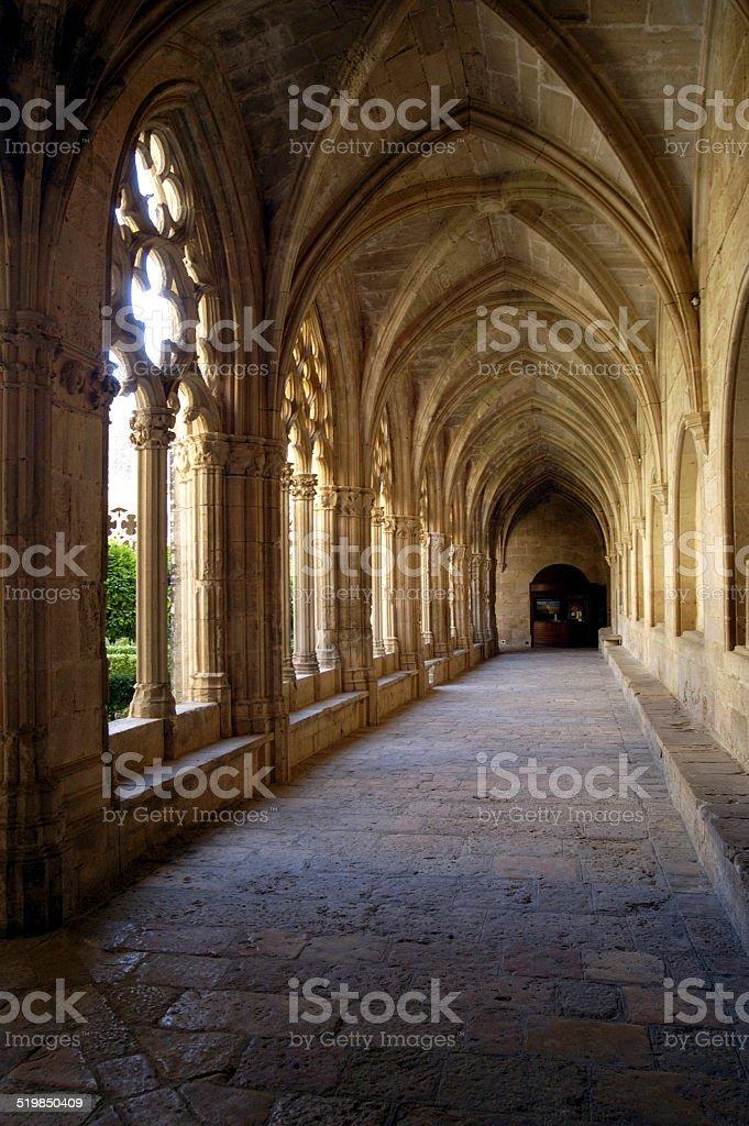 Cloister of Monastery of Santes Creus.Tarragona stock photo