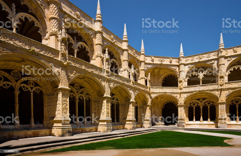Cloister of Mosteiro dos Jerónimos in Lisbon, Portugal stock photo