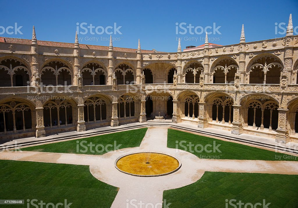 Cloister of Mosteiro dos Jer?nimos in Lisbon, Portugal stock photo
