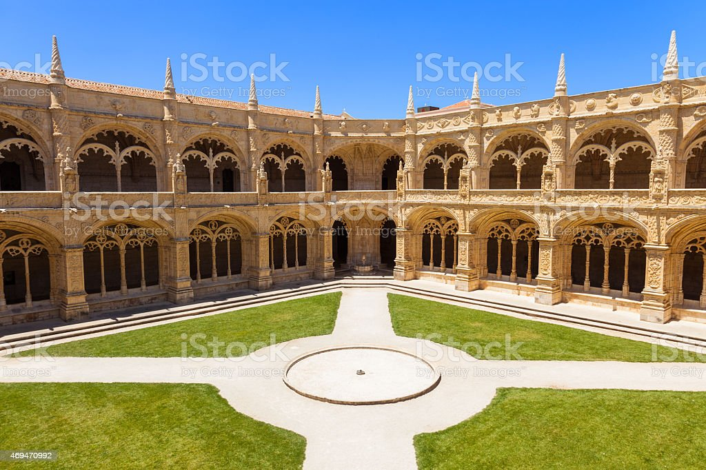Cloister of Mosteiro dos Jeronimos in Lisbon, Portugal stock photo
