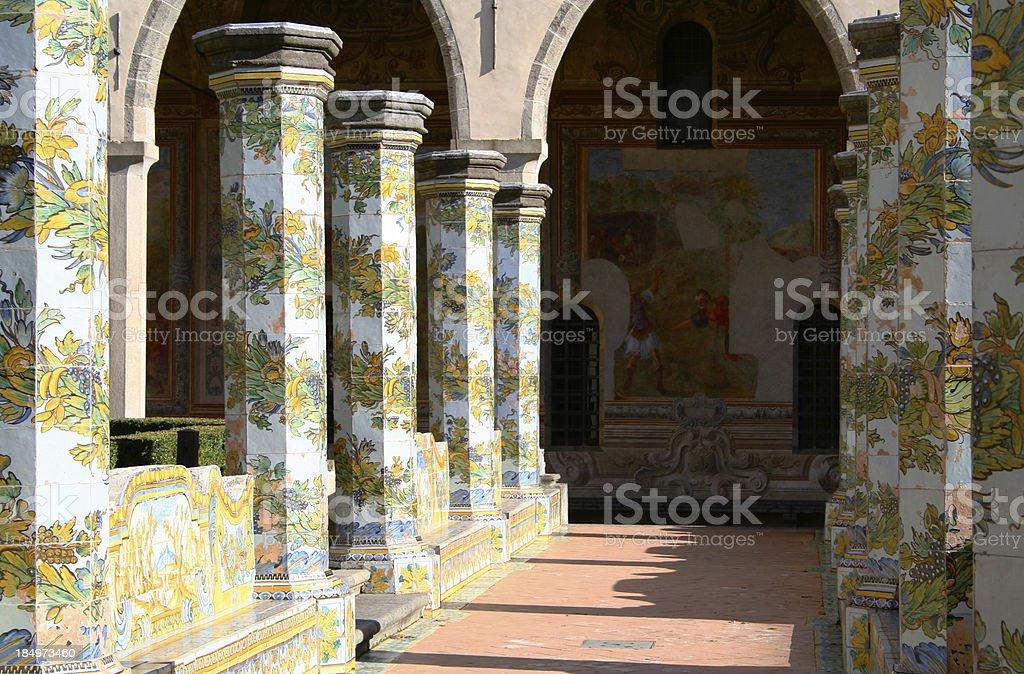 Cloister of Santa Chiara, Naples, Italy stock photo