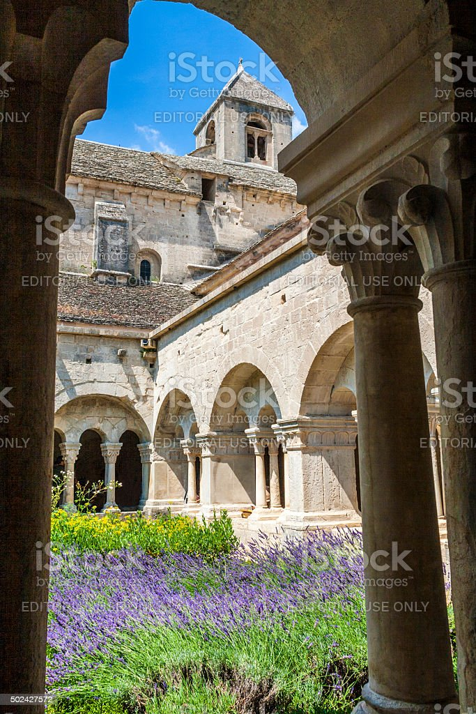 Cloister of Senanque Abbey, Vaucluse, Gordes, Provence, France stock photo