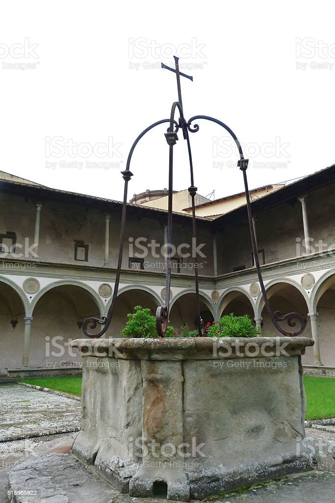Cloister of the Basilica of Santa Croce, Florence stock photo