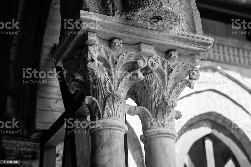 Chiostro del Duomo di Monreale, in Sicilia. 108° Capitello. N. stock photo