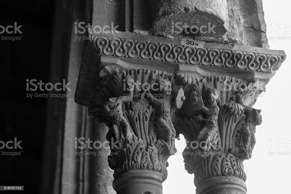 Chiostro del Duomo di Monreale, in Sicilia. 30° Capitello. N. stock photo