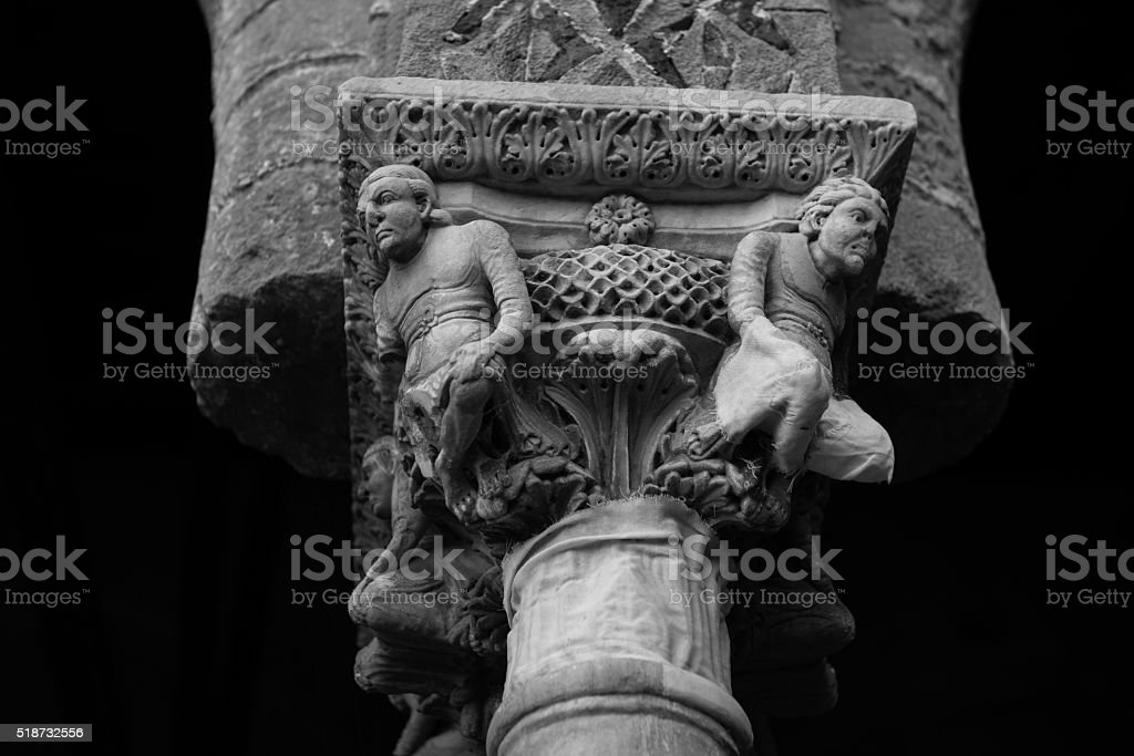 Chiostro del Duomo di Monreale, in Sicilia. 51° Capitello. W. stock photo