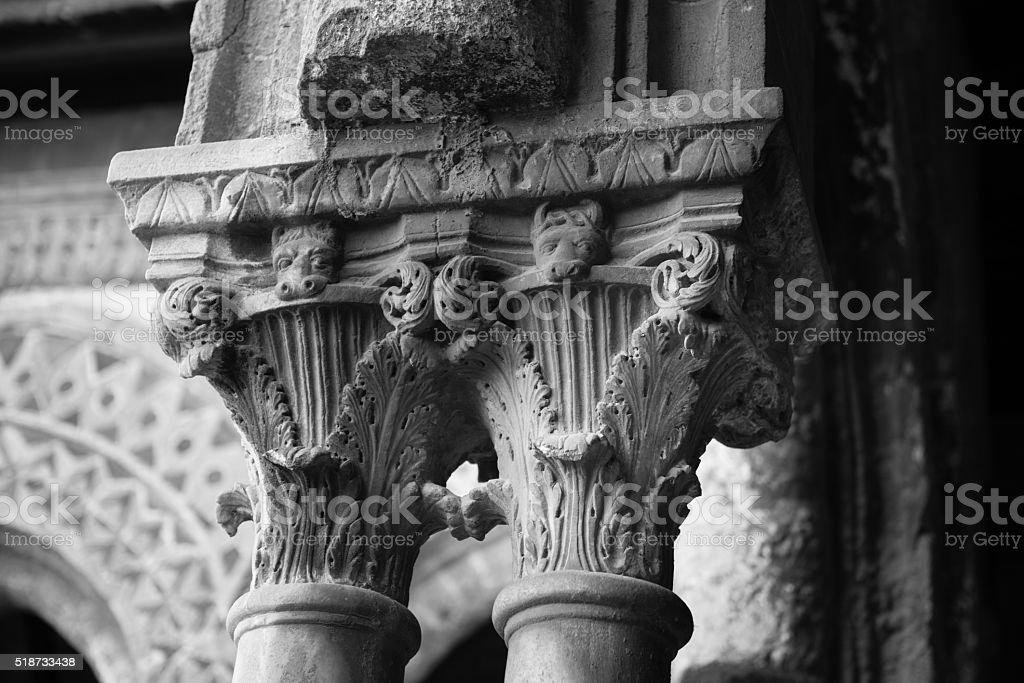 Chiostro del Duomo di Monreale, in Sicilia. 55° Capitello. W. stock photo