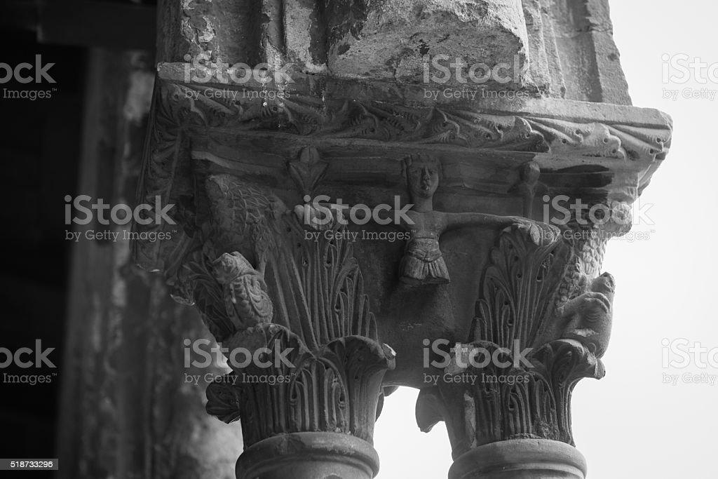 Chiostro del Duomo di Monreale, in Sicilia. 56° Capitello. E. stock photo