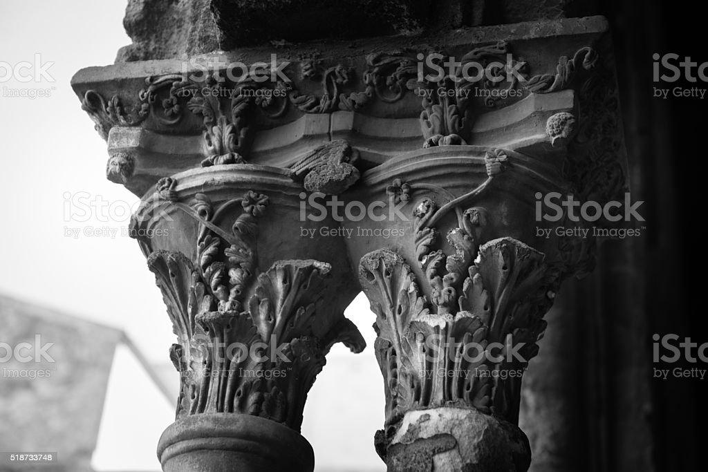 Chiostro del Duomo di Monreale, in Sicilia. 61° Capitello. W. stock photo
