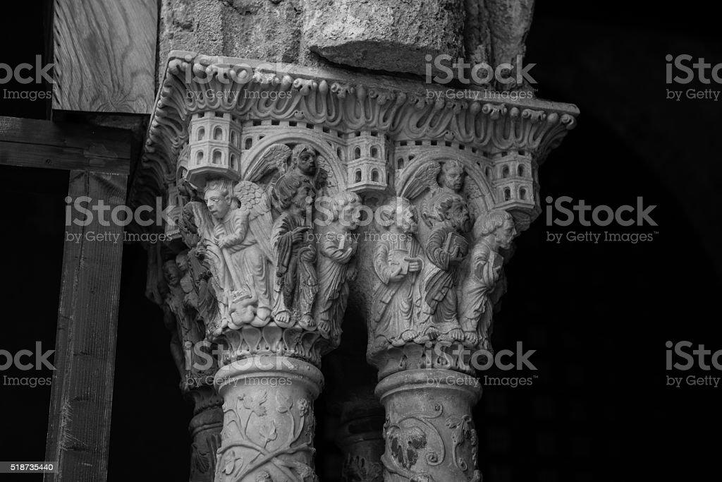 Chiostro del Duomo di Monreale, in Sicilia. 79° Capitello. N. stock photo
