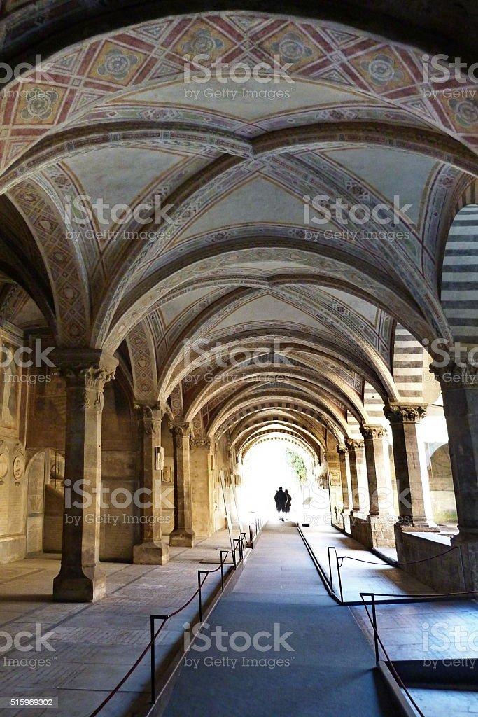Cloister of the dead in Santa Maria Novella, Florence stock photo
