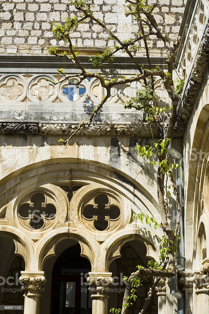 cloister of the Dominican monastery ,15 century stock photo