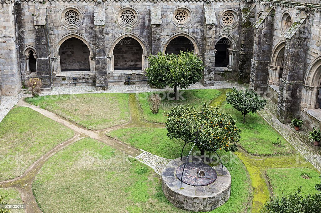 Cloister of the Evora Cathedral stock photo