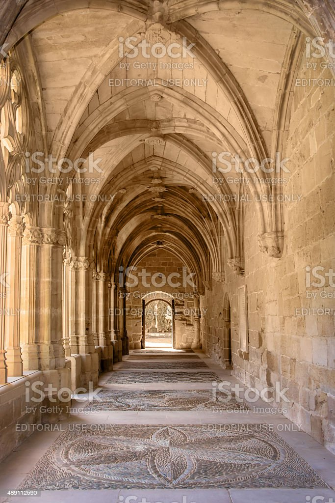Cloister of the monastery of La Oliva, Navarra, Spain stock photo