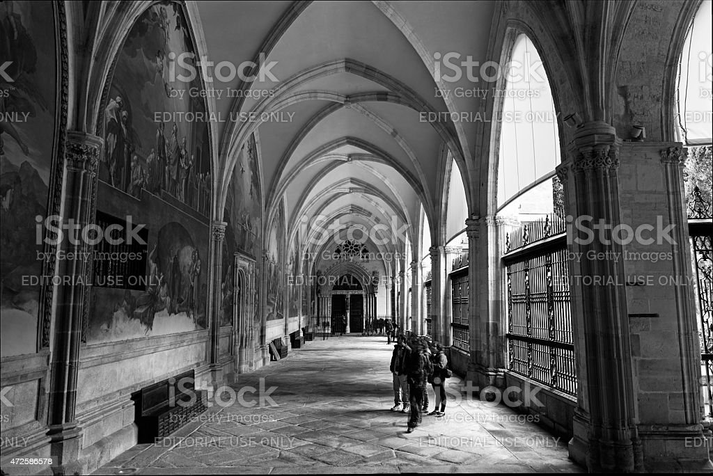 Cloister of the Primate Cathedral of Saint Mary of Toledo stock photo