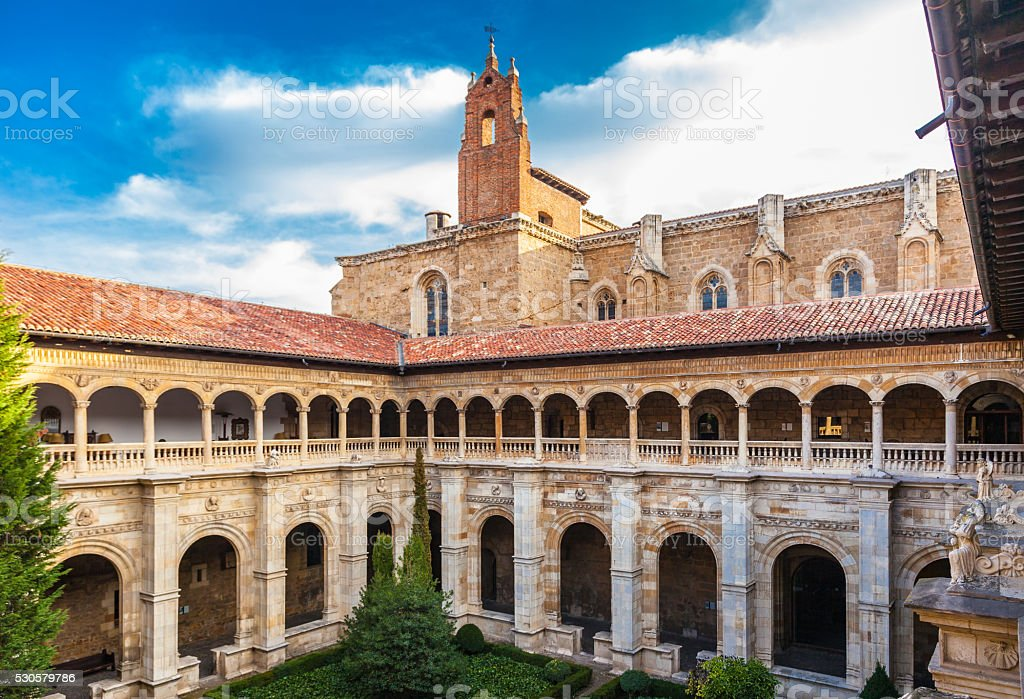 Cloister of the San Marcos monastery in Leon, Spain stock photo