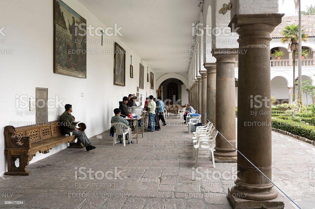 Cloister San Francisco in Quito, Ecuador stock photo